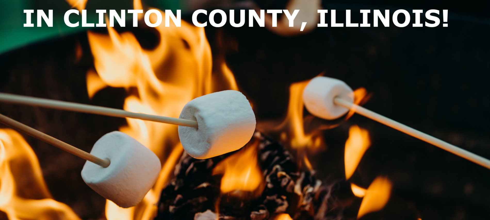 Close-up photo of roasting s'mores over a campfire