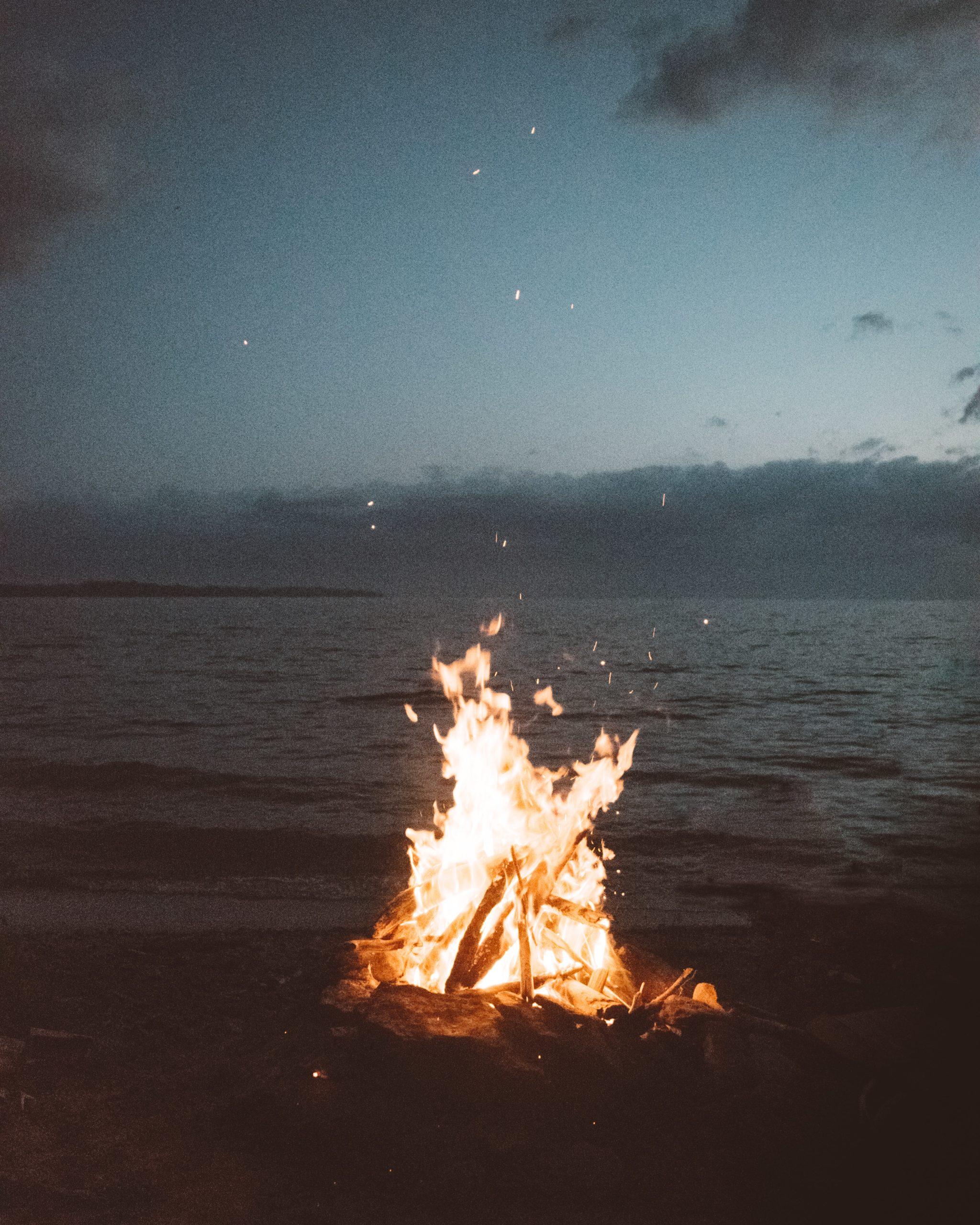 Big campfire beside Carlyle Lake IL