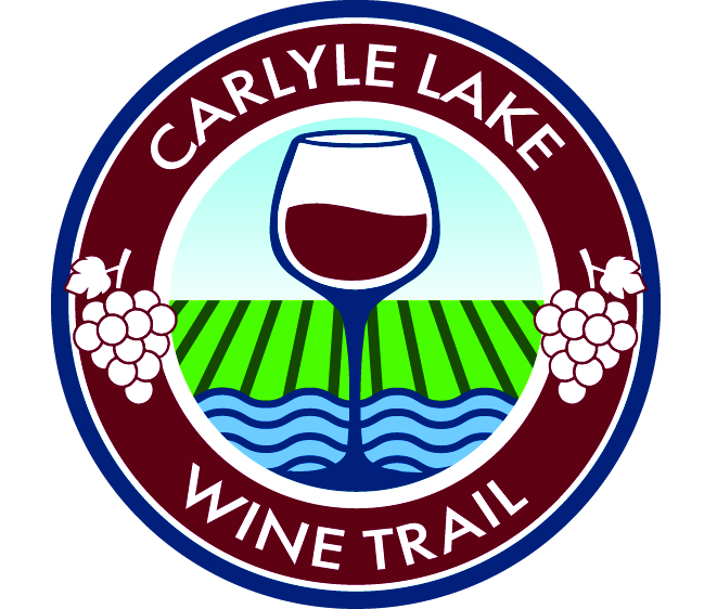 Carlyle Lake Wine trail logo with drawing of a wine glass in a circle