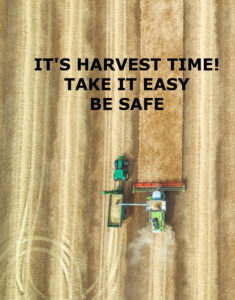 An overhead photo of a combine working a field.