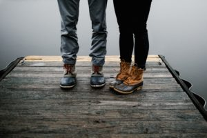Hiking-boots-on-dock-by-the-Carlyle-Lake