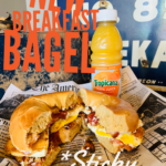 One of the breakfast bagel sandwiches.