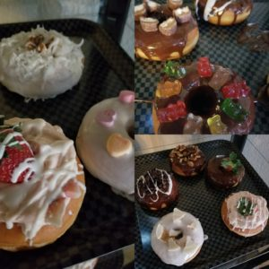 a yummy looking collage of chocolate pastries and candies.