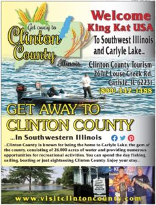 Full page ad for Clinton County Tourism and the King Kat Tournament showing 2 fishermen in a boat on Carlyle Lake