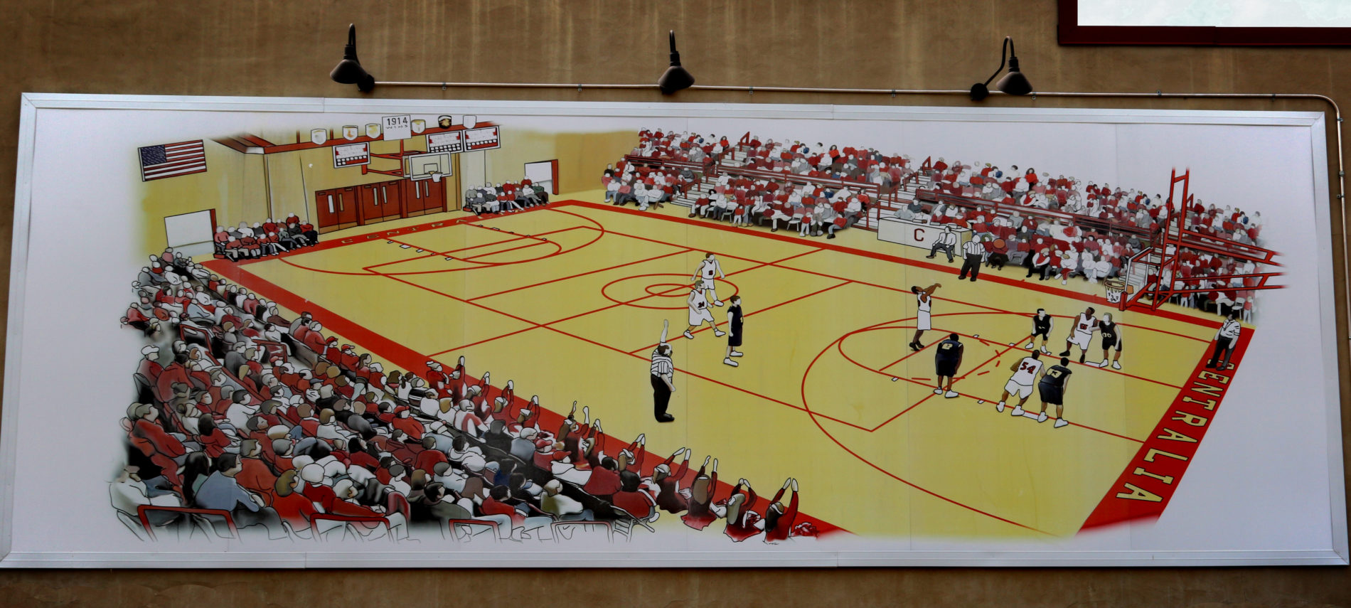 Mural of a basketball court with team playing, signifying the last game of the winning team.