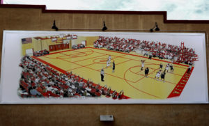 A copy of one of the Centralia mural showing the high school basketball court during a game.