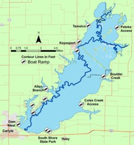 Map of Carlyle Lake in Illinois