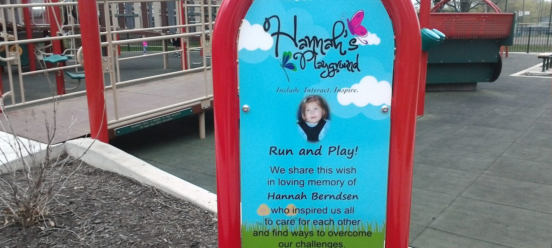 "The sign for Hannah""s Playground"