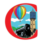 Logo for Centralia IL containing a colorful drawing of a hot air ballon, bell tower, and a locomotive.