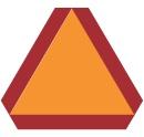 Orange triangular sign meaning slow moving vehicle