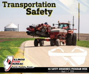Tractor on a country road with planter hitched to the back and the words transportation safety across the top of the photo