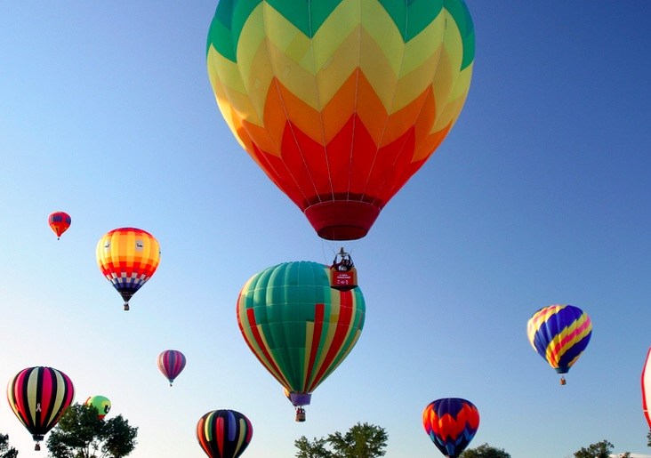 Photo of hot air balloons.