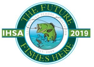 The IHSA Fishing Tournament Logo showing a bass jumping into a net.
