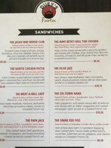 A photo of the menu showing the sandwiches.