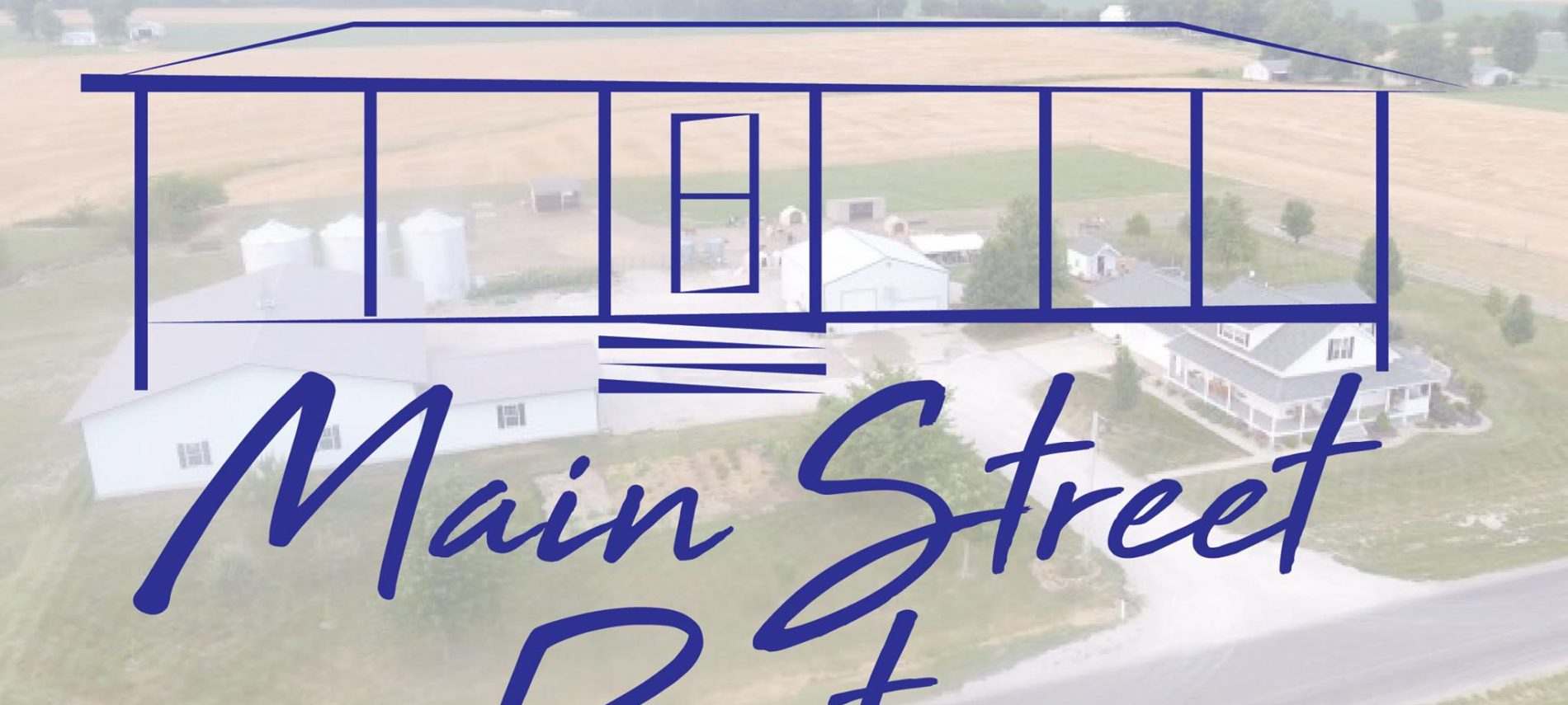 The Main Street Farms logo--a sketch of a barn superimposed over a pasture scene.