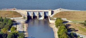 A photo of the dam at Carlyle Lake.