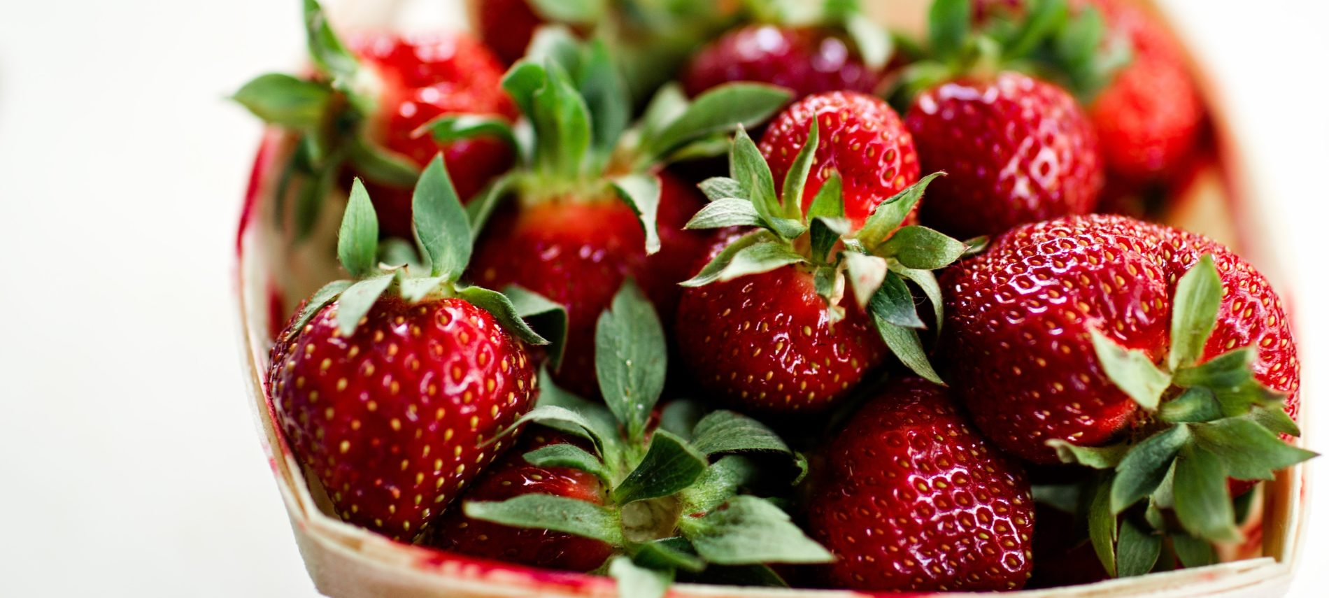 Basket of fresh strawberries.